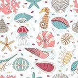 Seamless pattern of seashells Stock Images