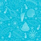 Seamless pattern of seashells Stock Photography