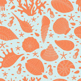 Seamless pattern of seashells Stock Photos