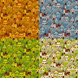Seamless pattern 4 seasons in the city Royalty Free Stock Image