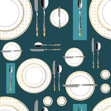 Seamless pattern with served table 1 Royalty Free Stock Photography
