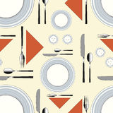 Seamless pattern with served table 2 Royalty Free Stock Image