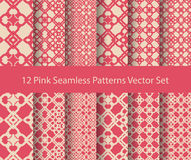 12 seamless pattern set. Abstract pink floral line oriental design background vector illustration Royalty Free Stock Image