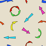 Seamless pattern of a set of arrows. Royalty Free Stock Photo