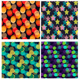 Seamless pattern set with bokeh Stock Photography