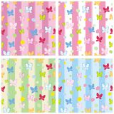 Seamless pattern set butterfly Royalty Free Stock Photo
