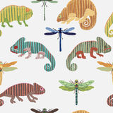 Seamless pattern with set chameleon and dragonfly in cartoon. Can be used for wallpapers, pattern fills, web page backgrounds,surf Stock Images