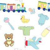 Seamless pattern with a set of children`s objects. Toys and clothes for the child. Vector picture. Stock Photography