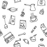 Seamless pattern set of coffee and tea Stock Image