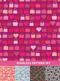 Seamless pattern set. Colorful handbags and hearts Royalty Free Stock Photo
