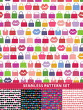 Seamless pattern set. Colorful handbags and lips Stock Images