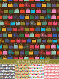 Seamless pattern set. Colorful handbags and retro bicycle Stock Photos