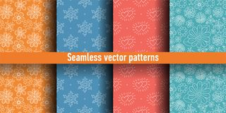 Seamless pattern set. Colorful vector background. Color flowers, snowflakes and hearts vector illustration
