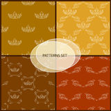 Seamless pattern set with crown and floral decorative element. Royalty Free Stock Photography