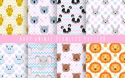 Seamless pattern set cute animal baby color. Happy collection for print textile fabric. Face lion,panda,rabbit, bear and other. Vector illustration vector illustration