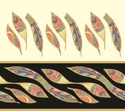 Seamless laced  pattern with art feathers Stock Image