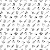 Seamless pattern set of different medical icons of wound care an stock illustration