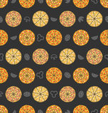 Seamless Pattern with Set of Different Pizza. Colorful Food Wallpaper Royalty Free Stock Images