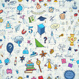 Seamless pattern with set of different school things.Doodle seamless background with school icons. Stock Photos