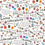 Seamless pattern with set of different school things.Doodle seamless background with school icons. Royalty Free Stock Photos