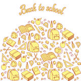 Seamless pattern with set of different school things Stock Photo