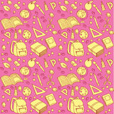 Seamless pattern with set of different school things Royalty Free Stock Image