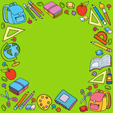 Seamless pattern with set of different school things Royalty Free Stock Photo