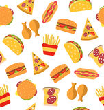 Seamless Pattern with Set Fast Food Flat Icons Royalty Free Stock Images