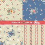 Seamless pattern set.Flowers,branches,berries in retro style Royalty Free Stock Images