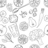 Seamless pattern set of fresh hand drawn fruits and vegetables. Seamless pattern with set of fresh hand drawn fruits and vegetables and products. Eco healthy Royalty Free Stock Photography