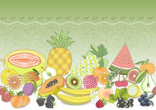 seamless pattern set fruit with realistic shadow. vector illustration Royalty Free Stock Images