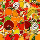 Seamless pattern with set of fruits and vegetation. Seamless tex Stock Image