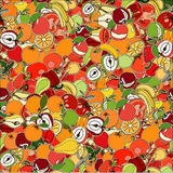 Seamless pattern with set of fruits and vegetation. Seamless tex Stock Photos