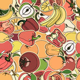 Seamless pattern with set of fruits and vegetation. Seamless tex Stock Images