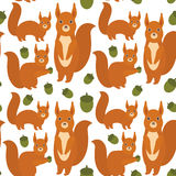 Seamless pattern Set of funny red squirrels with fluffy tail with acorn isolated on white background. Vector Stock Image
