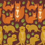 Seamless pattern Set of funny red squirrels with Gopher ground squirrel fluffy tail with acorn on dark brown burgundy background. Vector illustration Stock Image