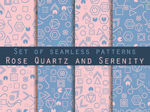Seamless pattern set with geometric figures in the Memphis style. Rose Quartz and serenity. Vector. Illustration Royalty Free Stock Photo