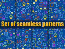 Seamless pattern set with geometric figures in the Memphis style. Vector. Illustration Stock Images