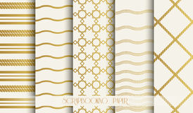 Seamless pattern set in gold and beige. Vintage style vector design templates. Vector Stock Images