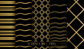 Seamless pattern set in gold and black. Vintage style vector design templates. Vector Royalty Free Stock Image
