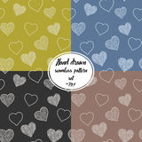 Seamless pattern set with hand drawn doodle hearts, vector illustration, Abstract background Stock Images