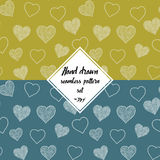 Seamless pattern set with hand drawn doodle hearts, vector illustration, Abstract background Royalty Free Stock Photos
