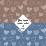 Seamless pattern set with hand drawn doodle hearts, vector illustration, Abstract background Royalty Free Stock Image