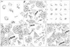 Seamless pattern set with hand drawn pizza slices. stock illustration