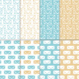Seamless pattern set with hand drawn sketchy envelopes. Backround with doodled envelopes. Minimalistic backgrounds. Hand. Seamless pattern set with hand drawn Royalty Free Stock Photo