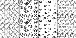 Seamless pattern set with hand drawn sketchy letters. Backround with doodled envrlopes. Momochrome minimalistic. Seamless pattern with hand drawn sketchy letters Royalty Free Stock Photography