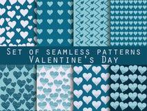 Seamless pattern set. Heart. Valentine's Day. Vector. Stock Photo