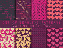 Seamless pattern set. Heart. Valentine`s Day. Vector. Illustration Royalty Free Stock Photo