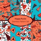 Seamless pattern set for Jewish holiday Purim Stock Photos