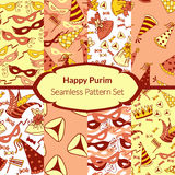 Seamless pattern set for Jewish holiday Purim Royalty Free Stock Image